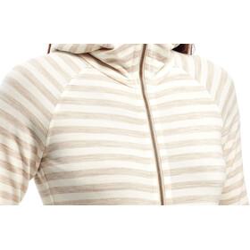 Icebreaker Crush LS Zip Hood Damen fawn hthr/snow/stripe